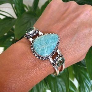 Aqua Amazonite Peridot Cuff Bracelet